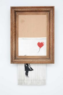 Banksy Releases Video Showing 'Rehearsal' Shredding of Girl With Balloon. Image courtesy Sotheby's. Bansky, Love is in the Bin, 2018 Sold for £1,042,000