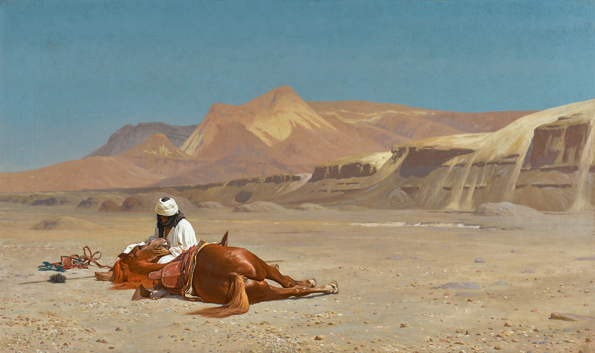 https://www.artsandcollections.com/wp-content/uploads/2019/04/Jean-Léon-Gérôme-Rider-and-his-Steed-in-the-Desert-est.-£1-1.5-million.jpg