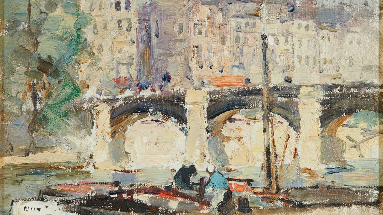 https://www.artsandcollections.com/wp-content/uploads/2019/12/John-Maclauchlan-Milne-Bridges-on-the-Seine-Lyon-Turnbull-1280x720.jpg