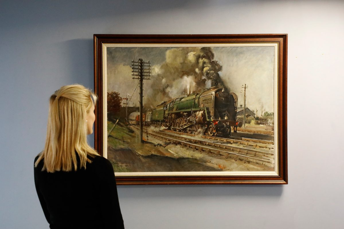 Terence Cuneo Painting Celebrating the Age of Steam Offered by Sworders