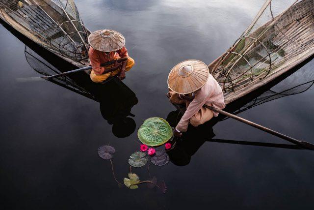 'Fischer, Lotus & Co' by Gabi Steiner, taken at Inle Lake, Myanmar.