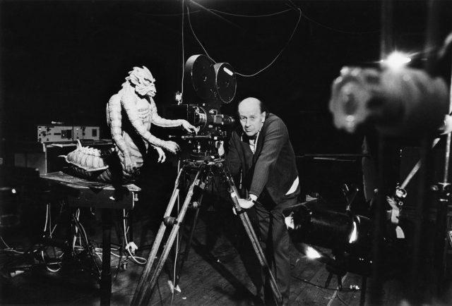 Ray Harryhausen on set