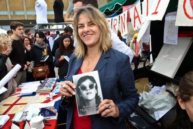 Tracey-Emin--at-the-Vauxhall-Art-Car-Boot-Fair-2013-@-getty