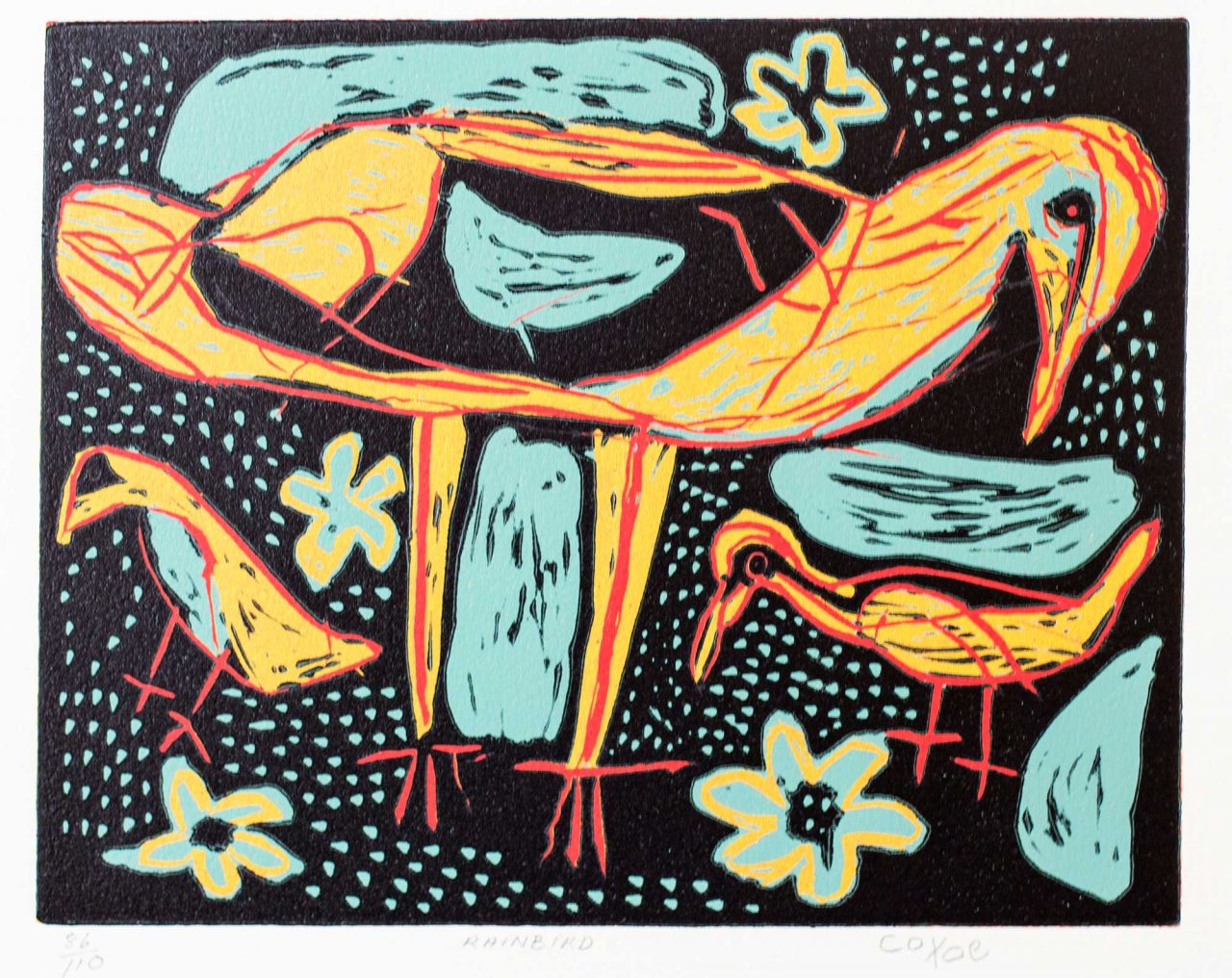 https://www.artsandcollections.com/wp-content/uploads/2021/03/Coixe-Bob-Rainbird-c2000-coloured-linocut-42-x-46-cm-edition-of-110_Rebecca-Hossack-Art-Gallery-1280x1016.jpg