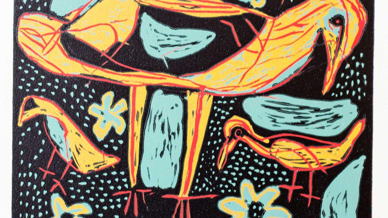 https://www.artsandcollections.com/wp-content/uploads/2021/03/Coixe-Bob-Rainbird-c2000-coloured-linocut-42-x-46-cm-edition-of-110_Rebecca-Hossack-Art-Gallery-1280x720.jpg