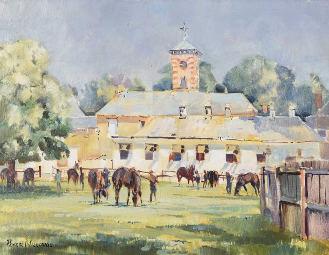 Highfield Stables at Bedford House Stables, Newmarket by Peter Williams (1934-2018). Estimate £200-£300