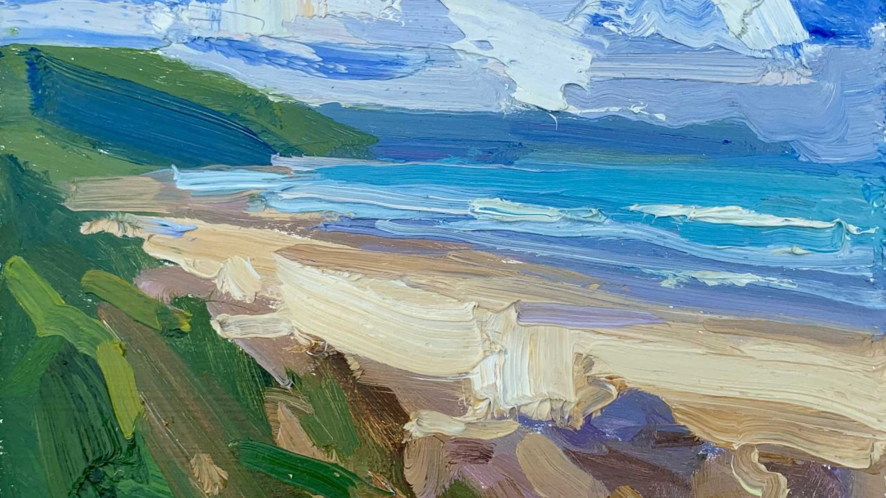https://www.artsandcollections.com/wp-content/uploads/2021/07/Baggy-Point-across-Woolacombe-30-x-35cm-£680-1280x720.jpg