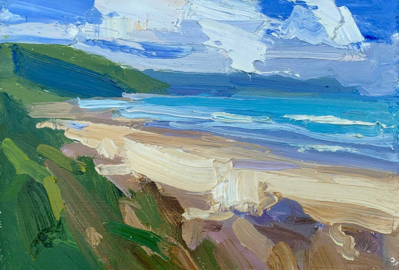 https://www.artsandcollections.com/wp-content/uploads/2021/07/Baggy-Point-across-Woolacombe-30-x-35cm-£680-1280x866.jpg