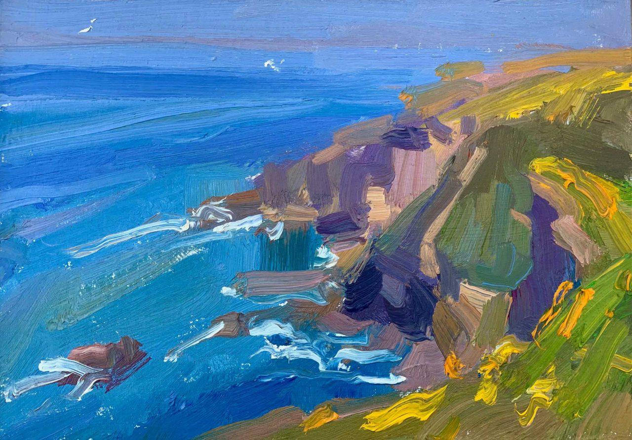 Lucy Kent,Devon-Cliffs,-30-x-35cm-framed-£680